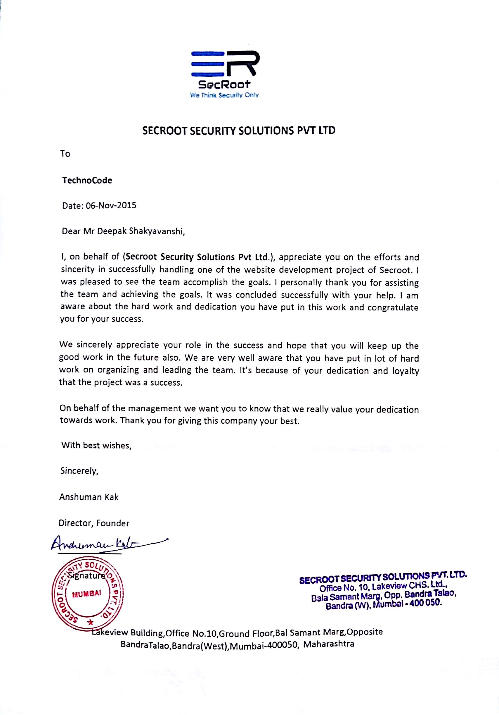 Appreciation Letter from Secroot Security Solutions Pvt. Ltd. , Techno Code LLP