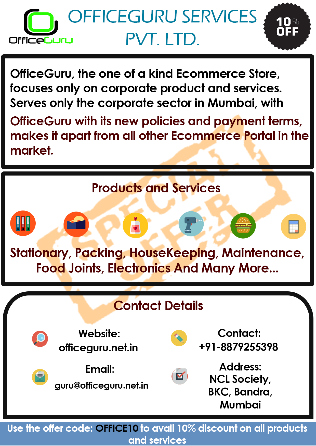 Pamphlets OfficeGuru Banner , Techno Code LLP